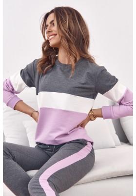 Set pohodlné mikiny a teplákových kalhot, šedá / fialová