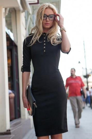 Sukienka midi czarna 7778