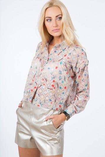 Beżowa Zwiewna Koszula 21056