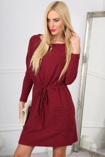 Bordowa Sukienka Wiązana w Talii 10100