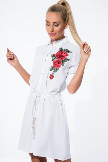 Biała Haftowana Sukienka Koszulowa 1170