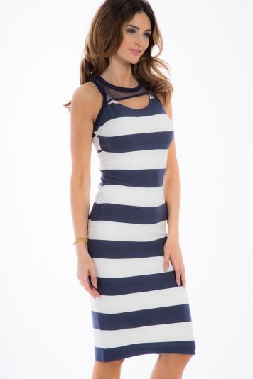 Granatowa sukienka w pasy 5284