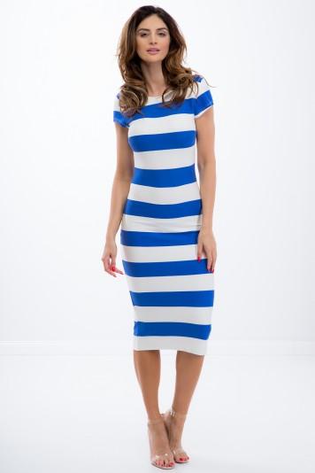 Chabrowo-Biała sukienka w pasy 5114