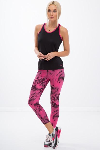 a922c7276 ... Vzorované, růžové, fitness legíny. Różowe legginsy w czarne wzory H0060