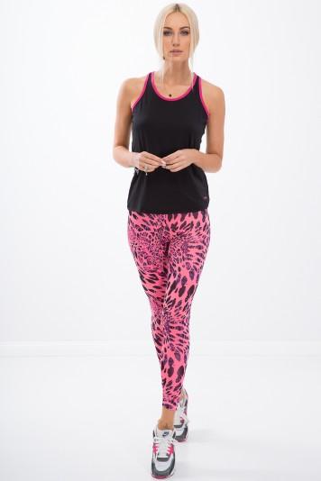Różowe legginsy sportowe w panterkę H006