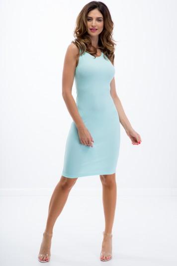 Miętowa prosta sukienka 3547