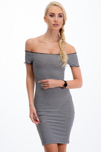 Czarno-biała sukienka w paseczki 21475
