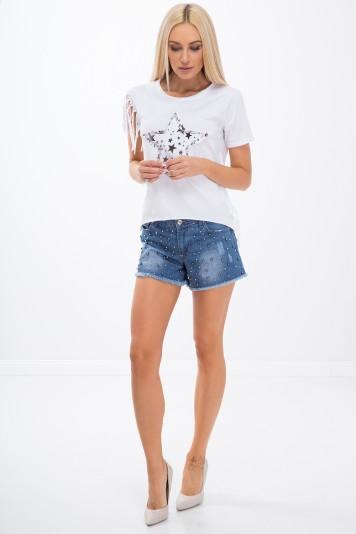 Jeansowe szorty z koralikami 21577