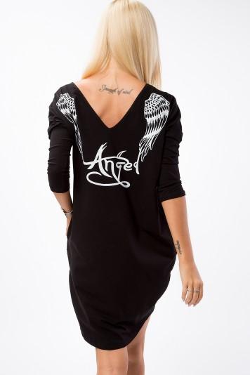 Czarna sukienka z aplikacją na plecach 3661
