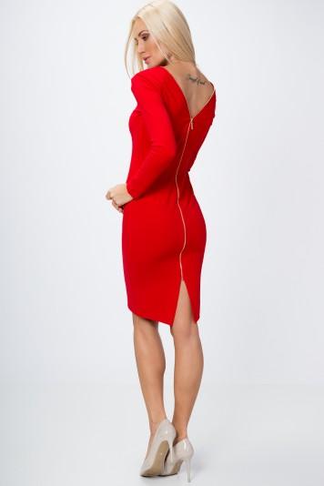 Sukienka ze złotym suwakiem czerwona 65000