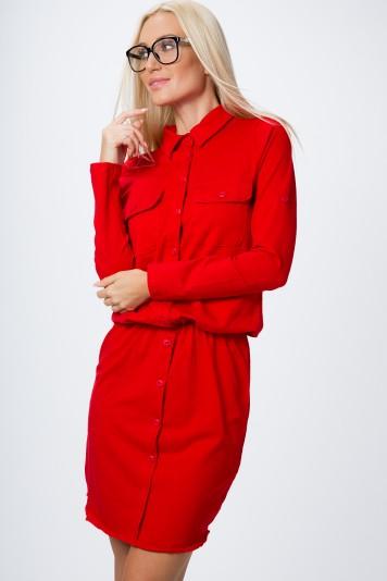 Sukienka zapinana na guziki czerwona 3694