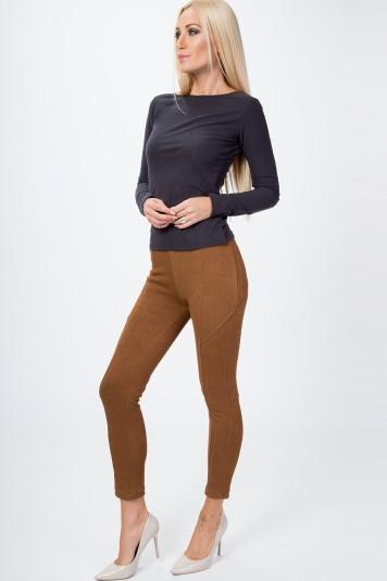 Spodnie z imitacji zamszu z przeszyciami karmelowe BB21901