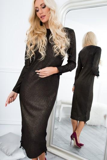 Sukienka midi dopasowana czarno-złota 6544