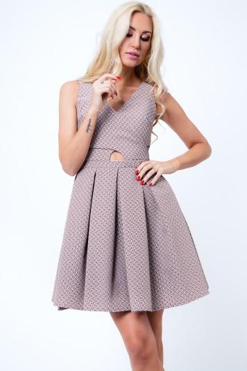 Sukienka rozkloszowana we wzory cappuccino G5011