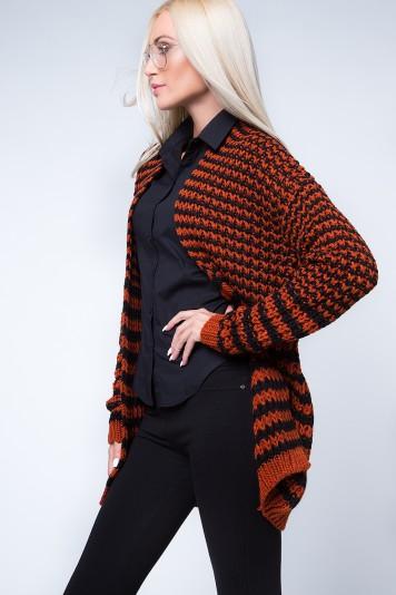 Kardigan swetrowy czarno-rudy MP32039