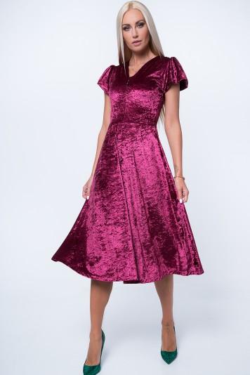 Sukienka MIDI z gniecionego weluru bordowa MP60286