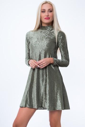 Sukienka prążkowana khaki MP62071