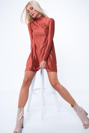 Sukienka prążkowana ruda MP62071