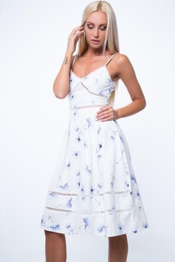 Sukienka rozkloszowana kremowa ZZ253
