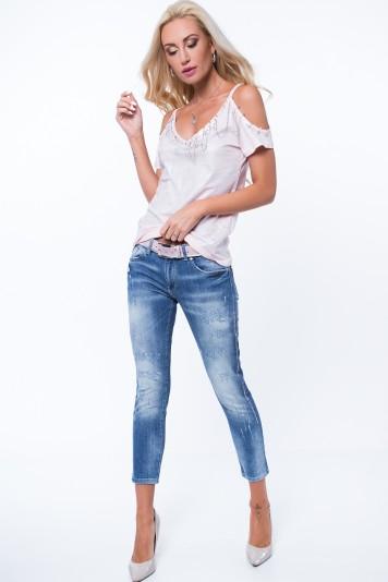 Spodnie jeansowe z mieniącymi się lampasami RR6745