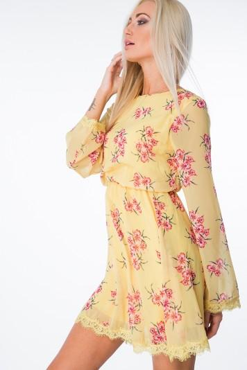 Sukienka w kwiaty z wiązaniem żółta 6754