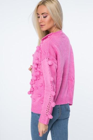 Sweter z pomponami ciemnoróżowy MISC232