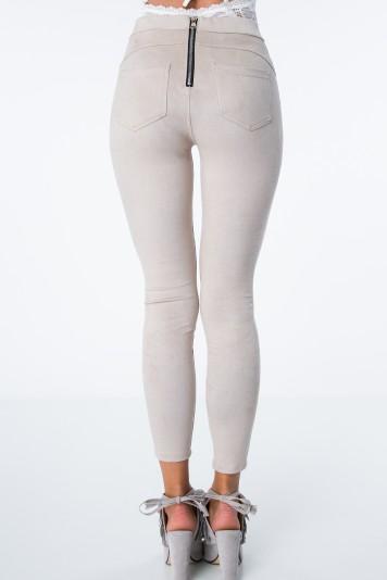 Spodnie z suwakiem z eko zamszu beżowe MISC007