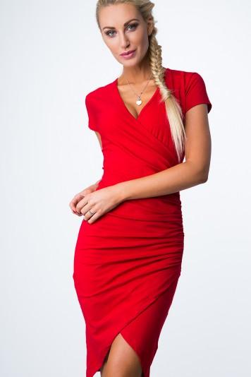 Czerwona Kopertowa Sukienka 3381