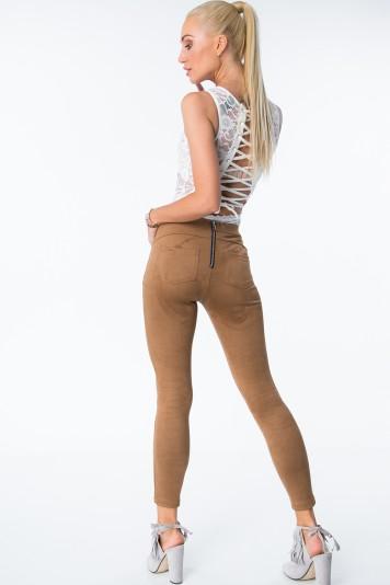 Spodnie z suwakiem z eko zamszu karmelowe MISC007