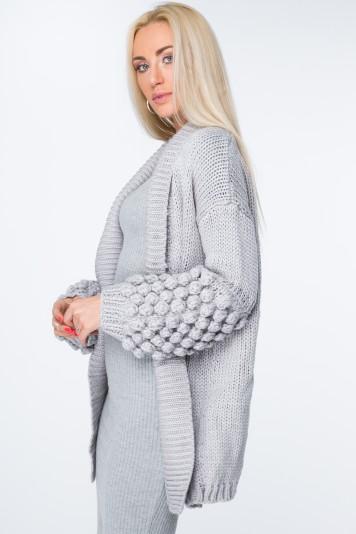 Kardigan swetrowy jasnoszary MISC262