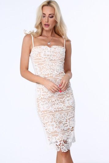 Sukienka koronkowa na cienkich ramiączkach beżowa ZZ261