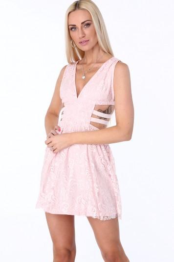 Sukienka z gumkami po bokach jasnoróżowa ZZ304