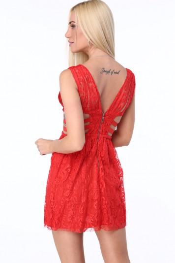 Sukienka z gumkami po bokach czerwona ZZ304
