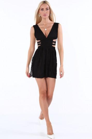 Sukienka z gumkami po bokach czarna ZZ304
