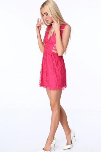 Sukienka z gumkami po bokach amarantowa ZZ304