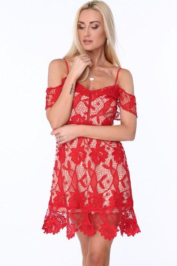 375f49531d7 Koktajlowa sukienka z koronki czerwona ZZ313