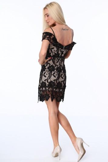 f75e8a4d551 Koktajlowa sukienka z koronki czarna ZZ313