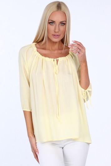 Bluzka z wiązaniem przy dekolcie żółta MIS16