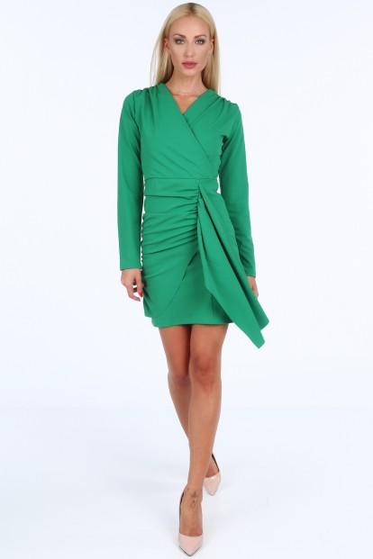 Zelené krátké letní dámské šaty s dlouhými rukávy Velikost XL 02124174e2a