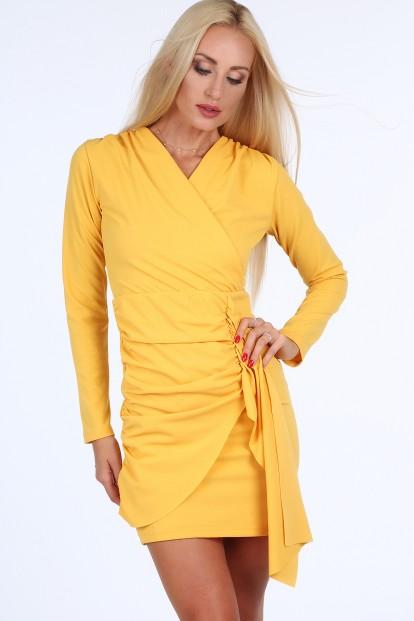 Žluté krátké letní dámské šaty s dlouhými rukávy Velikost S 172d4d0b214