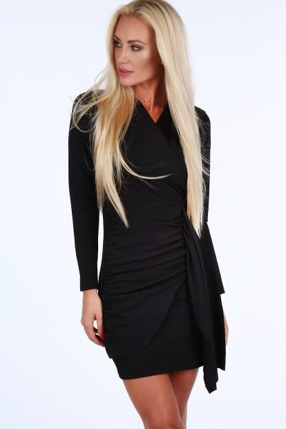 Černé krátké letní dámské šaty s dlouhými rukávy Velikost S d6573dadcbb