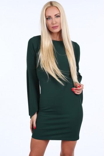 51478c7e8794 Tmavozelené dámské šaty s nadrozměrnými rukávy. Cena 792 Kč
