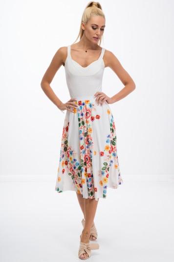 Kremowa spódnica w kwiaty 8261