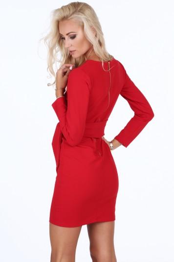 Sukienka wiązana w talii czerwona 1835