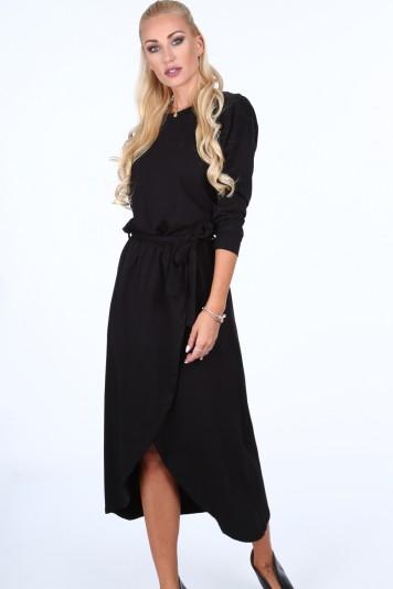 Sukienka z kopertowym dołem czarna 40050