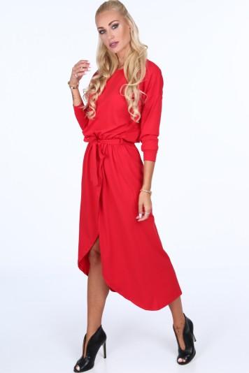 Sukienka z kopertowym dołem czerwona 40050
