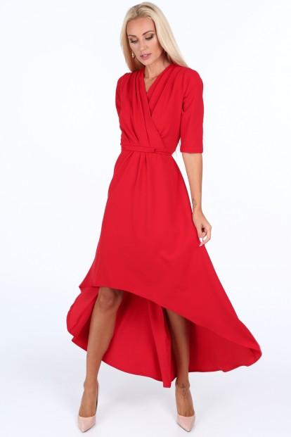 ... Červené elegantní dámské šaty s výstřihem ve tvaru písmene V. Sukienka  z zakładanym dekoltem czerwona 1841 65561e4606