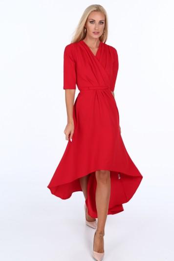778f63eabd5e Červené elegantní dámské šaty s výstřihem ve tvaru písmene V ...