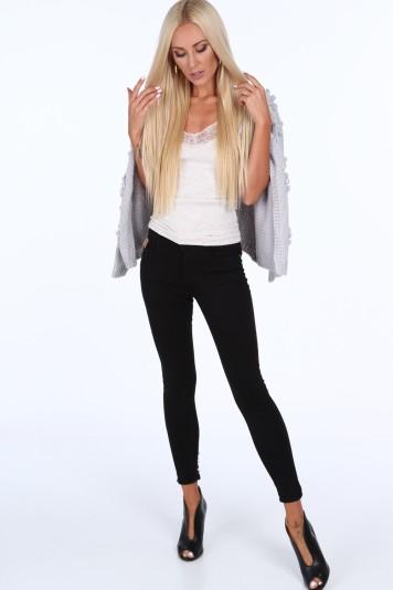 Jeansy z perełkami na nogawkach czarne 1036