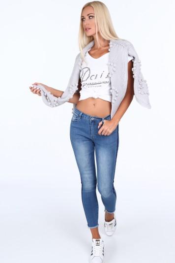 Spodnie z lampasami jeansowe 32097
